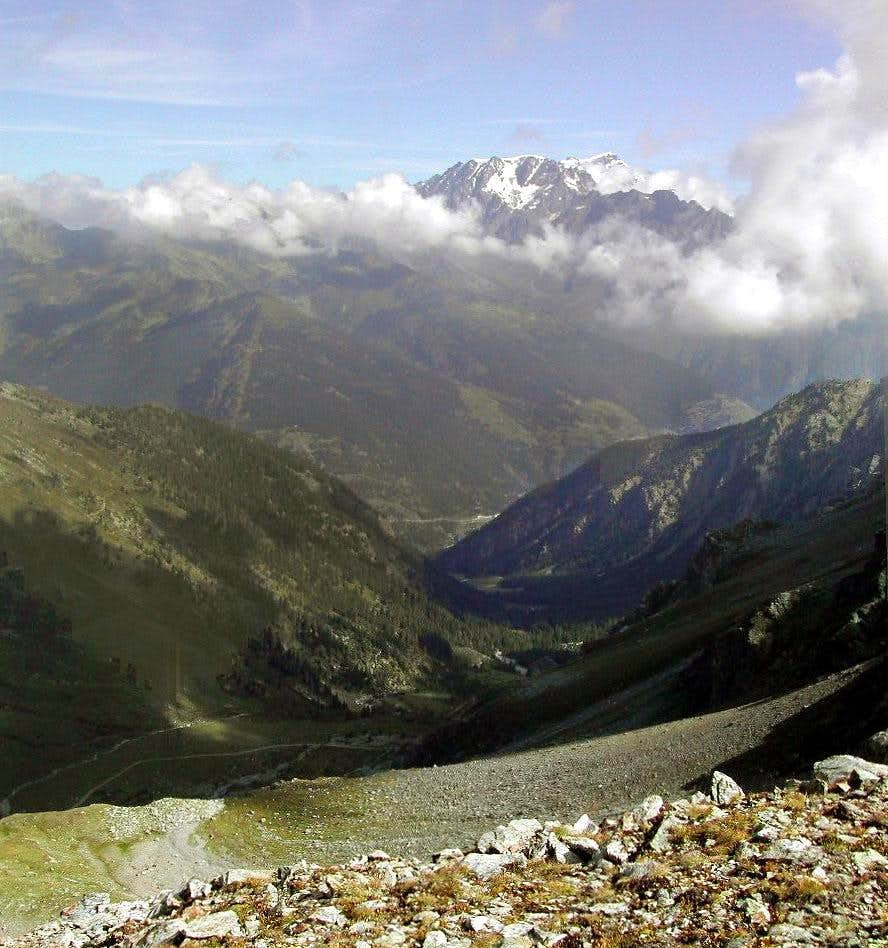 View of aligned Mont Velan and Grand Combin from Colle della Finestra