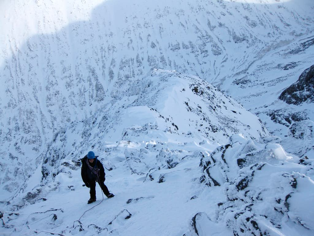 Towards the top of Ledge route on Ben Nevis
