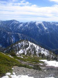 Looking down the Baldy ridge