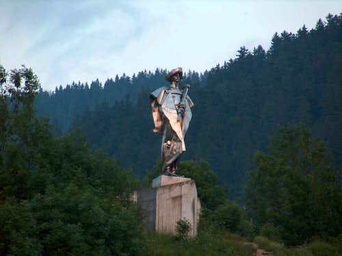 Janosik (in aluminium) is standing at the entrance of the Mala Fatra