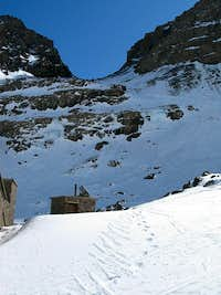 The route to the summit of Jbel Toubkal above the mountain refuges