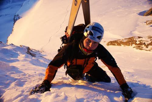 brother is climbing last metres to the very top!