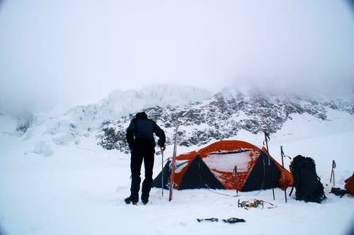 Campsite  under south face of  West Lyskamm