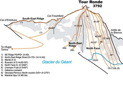 Tour Ronde topo. Drawn by Ari...