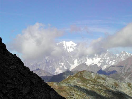 Mont Blanc summit above the clouds from Colle Finestra <i>2729m</i>, West of mont Fallere <i>3061m</i>