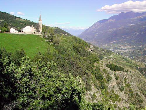 Saint Nicolas church view from the Belvedere near Bois de la Tour