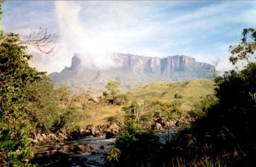 Kukenan Tepui rises above the...