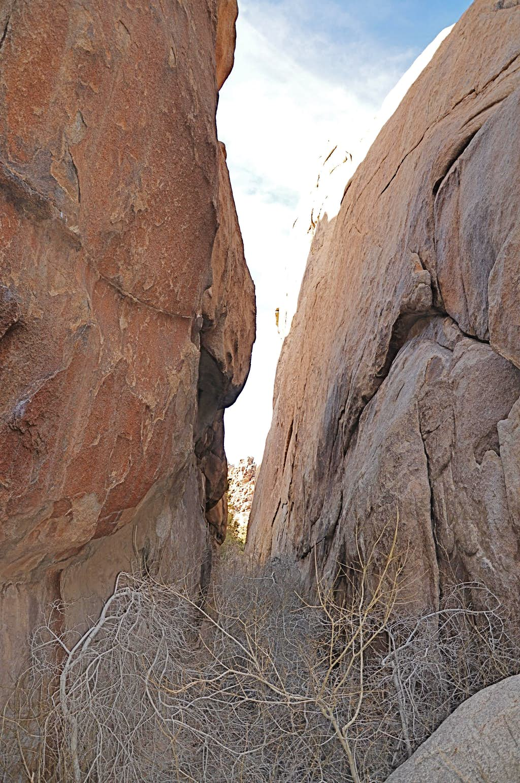 Narrow gully with Hidden Rock on the left