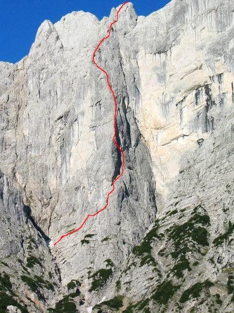 The route over the buttress:...