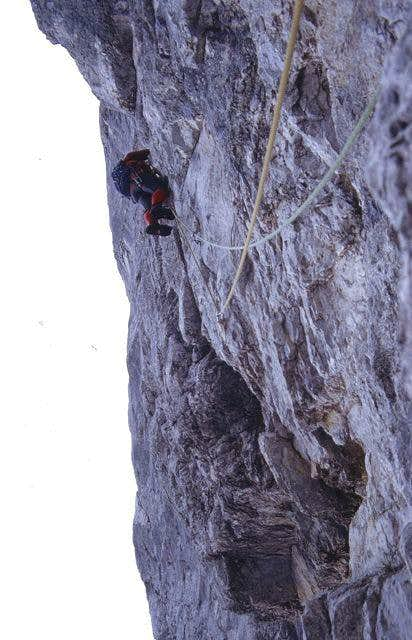 In the crux of the buttress,...