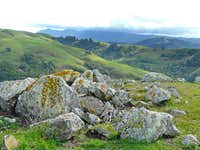 Serpentine rocks and Mt. Tamalpais