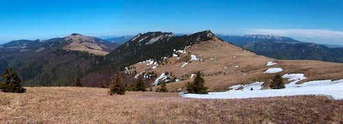 The Čierny Kameň limestone outcrops from the slopes of Ploská