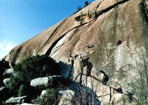 Climbers on the south face of...