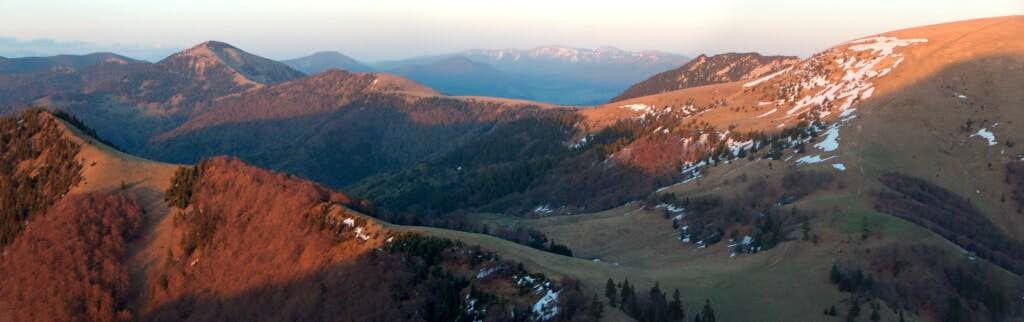 Sunset from the top of Borišov, looking East to Rakytov and Čierny Kameň