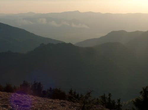 Sunset from the top of Borišov, looking West to Kľak, in southern Malá Fatra