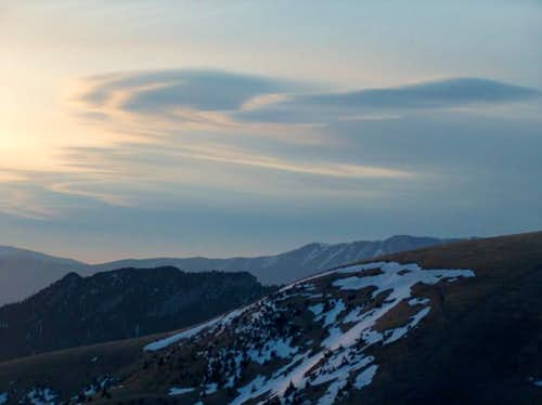 Sunrise from the top of Borišov, looking West to some lenticular clouds