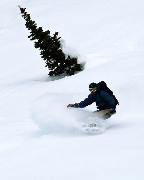 Snowboarding in White Pine Canyon