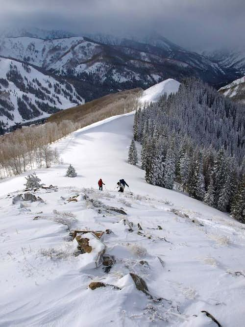 Ascending the Willow Fork/USA Bowl ridge