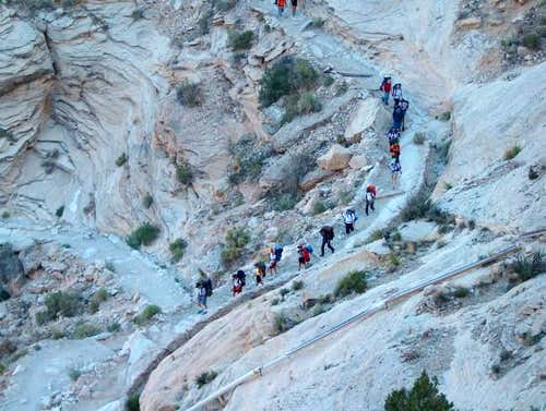 A group of hikers going down...