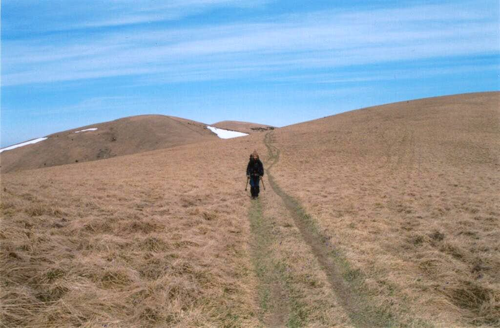 Me crossing the desertic grassy immensities of the Veľká Fatra :)