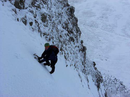 Brown Cove Crag. Gully climb