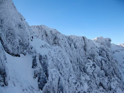 Climbers on the upper half of No.3 Gully Buttress Original Route on Ben Nevis