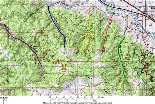 Map of some of the canyons...
