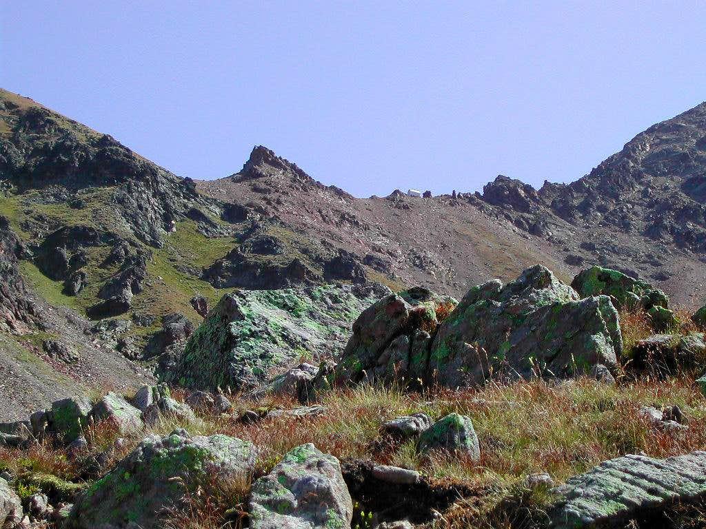 Col Carrel <i>(2852m)</i> and the white silhouette of Bivacco Federigo