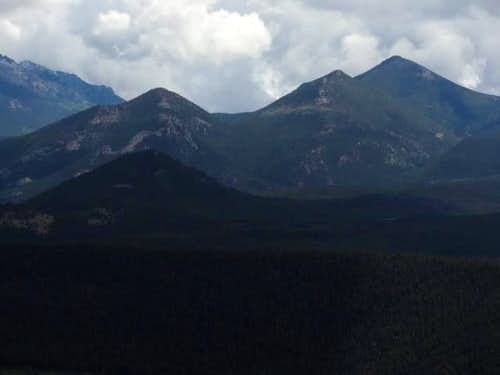Zoomed into  Thunder Peak ,  Lightning Peak , and Estes Cone from Beaver Mountain