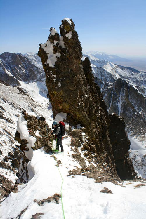Couloir crossover point on Crestone Needle