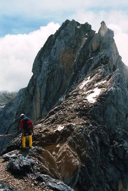 Climbing the summitridge,...