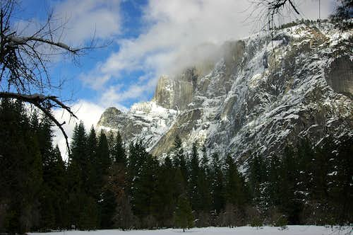 Half Dome in winter cloud