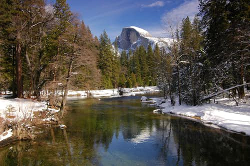 Half Dome reflects in Merced