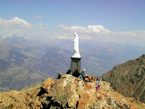 The statue of the Madonna on the summit of Becca di Nona (3142m)