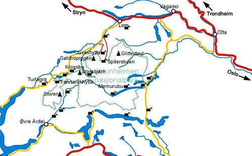 Map of Jotunheimen. Copyright...