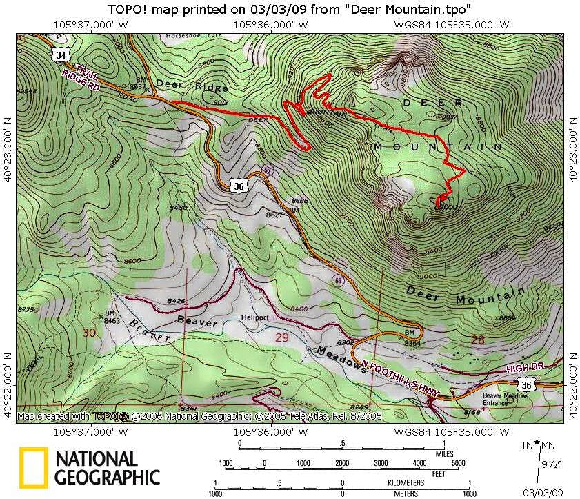 Deer Mountain from Deer Ridge Route Map