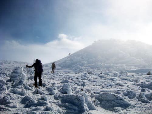 Approaching the summit of Jefferson - 2/15/2009