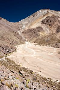 drop-off point, basecamp is at the bright spot below the saddle