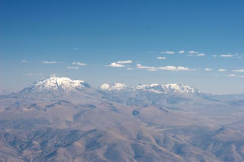 Nevado Ampato (left), Sabancaya (center) and Hualca Hualca (left)