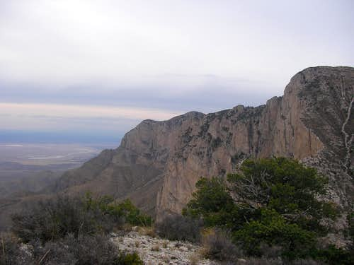 West face of Guadalupe as viewed from the false summit of El Capitan