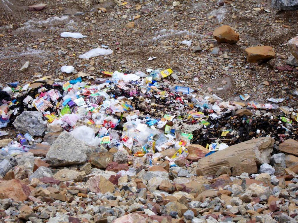 Garbage at Baltoro Glacier