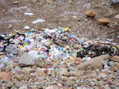 Garbage at Baltoro Glacier