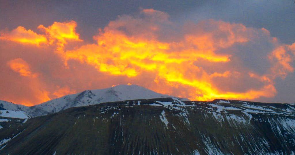 Sunset over Kennecott