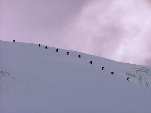 Teams coming down from the summit.