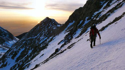 Heading for Little Bear's West Ridge at Sunset