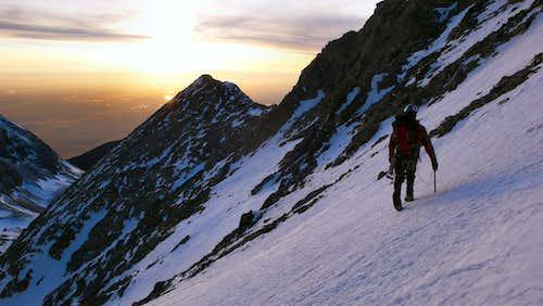 Heading for Little Bear's West Ridge at Sunset