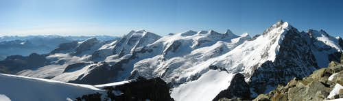 Piz Palü and Piz Bernina from the summit of Piz Morteratsch