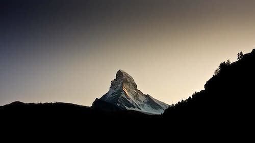 Matterhorn at dusk as seen from Zermatt