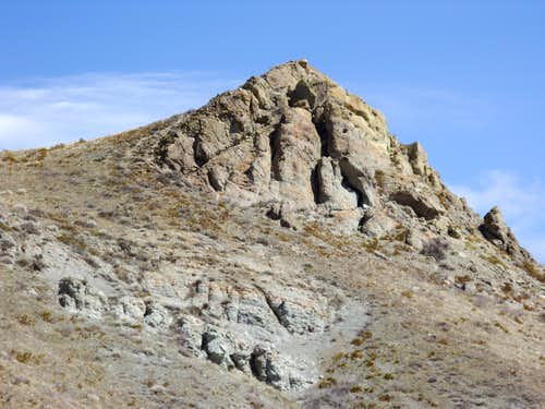 Rocky cliff up the trail