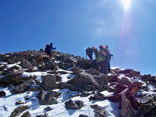 Descent from the summit ridge of Mount Guyot